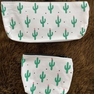 NEW! Canvas Cactus Print Zippered Pouch Duo